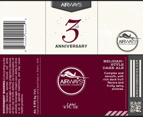 The Label For Airways Brewing's 3rd Anniversary Belgian Dark Strong Ale