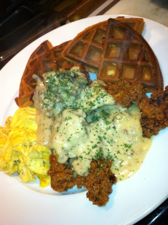 The Always Popular King Of Comfort Food: Chicken And Waffles At Burgundian
