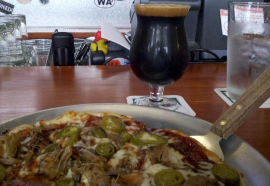 Pulled Pork & Kimchee Pizza With Evil Twin Brewing's Biscotti Break Imperial Stout From Denmark