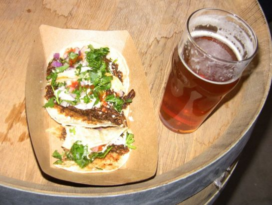 My Populuxe IPA And Chicken Mole Tacos From Contigo