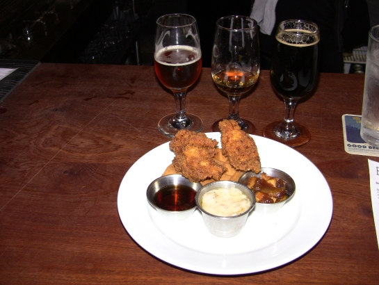 My Anderson Valley / Wild Turkey Flight Paired With Mini Chicken And Waffles With Wild Turkey Bourbon Maple Syrup