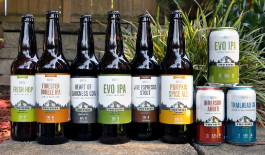 Two Beers Brewing Company's New Label Designs