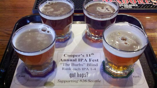 One Of My Taster Tray's From Last Year's April IPA Fest At Cooper's Alehouse
