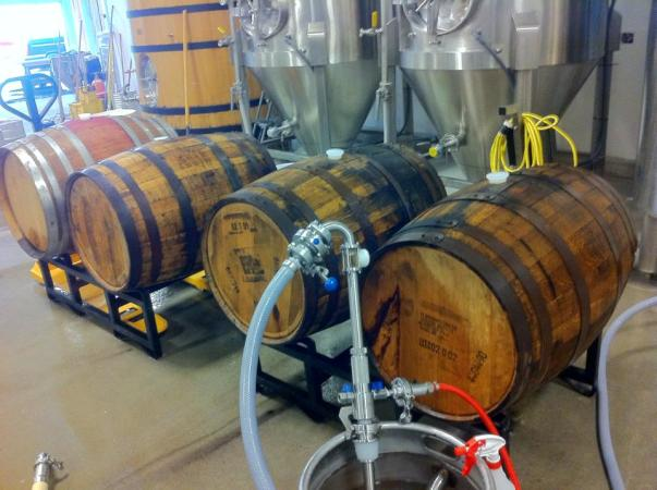 Filling Rittenhouse Rye, Elijah Craig, and J.T.S. Brown Barrels with some King's Head Double Oatmeal Brown