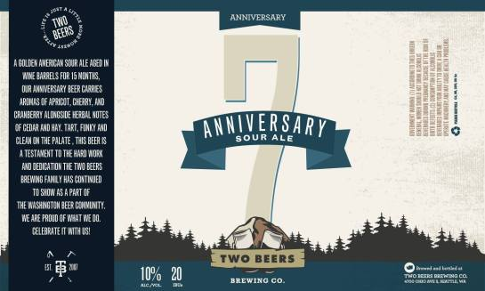 The Label For Two Beers' 7th Anniversary American Sour Ale