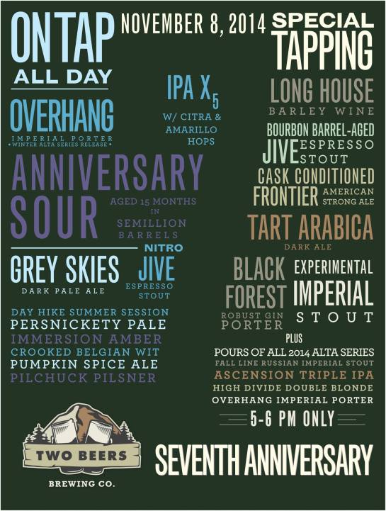 The Tap List For The 7th Anniversary Celebration At Two Beers Brewing Company