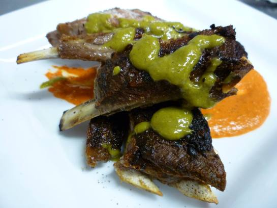 One Of Schooner Exact's Amazing Specials: Lamb Ribs w/ Romesco and Roasted Green Onion Vinaigrette
