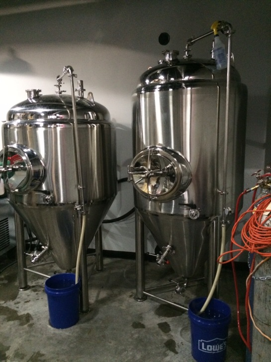 Outer Planet Brewing's Two 6 Barrel Fermenters - They're The Same Size - One Is Just 'Squatier'
