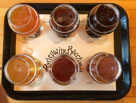 A Taster Tray From The Barleywine Bacchanal At Beveridge Place Pub