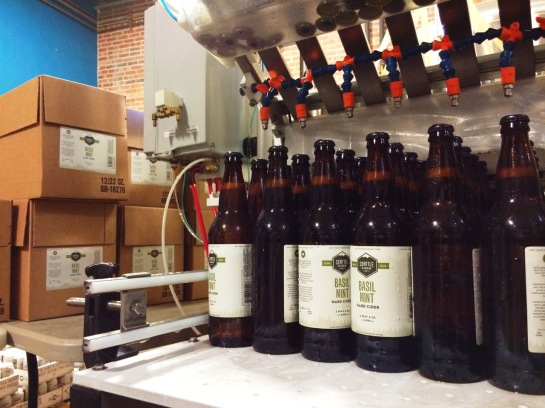 Basil Mint Cider Coming Off The Bottling Line At Seattle Cider Company