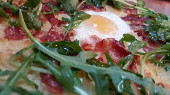 Speck & Egg Pizza