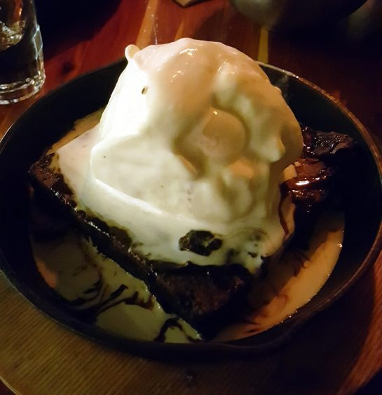 Mexican Brownie With Vanilla Ice Cream And Kaluha Cream Sauce